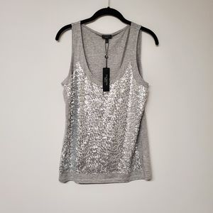 Talbots Silver Sequin Tank Top M NWT